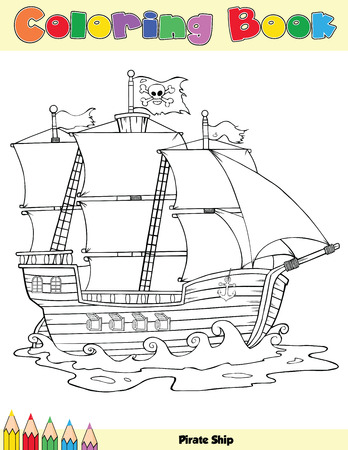 pirates flag design: Pirate Ship Coloring Book Page Illustration