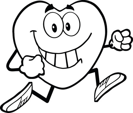 Black And White Smiling Heart Cartoon Mascot Character Running  Illustration Isolated on white 向量圖像