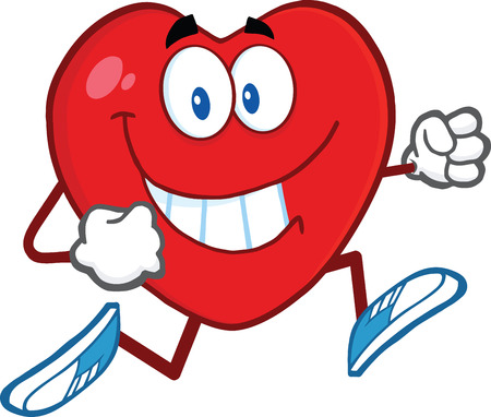 Smiling Heart Cartoon Mascot Character Running  Illustration Isolated on white Vector