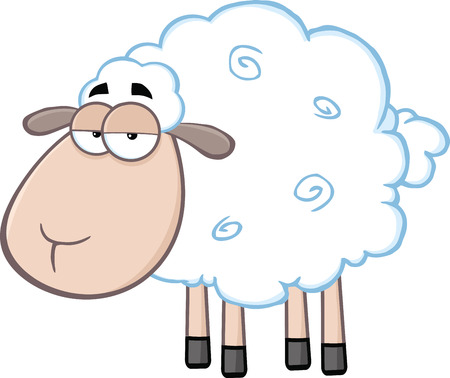 Cute Sheep Cartoon Mascot Character  Illustration Isolated on white Vector