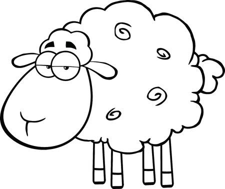 Zwart-wit Leuke Schapen Cartoon Mascot Karakter illustratie geïsoleerd op wit