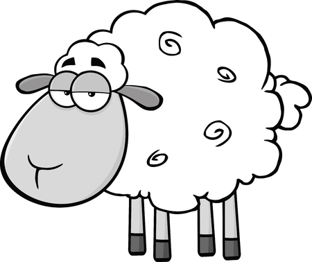 Cute Sheep Cartoon Mascot CharacterIn Gray Color  Illustration Isolated on white