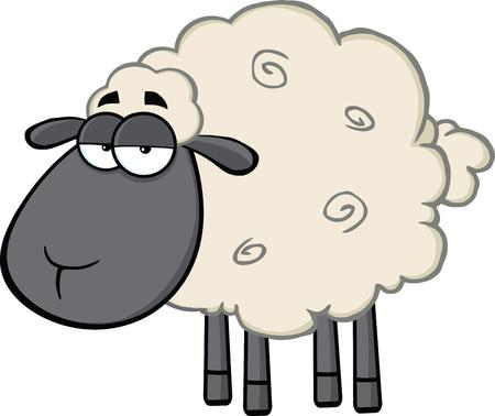 black: Cute Black Head Sheep Cartoon Mascot Character  Illustration Isolated on white
