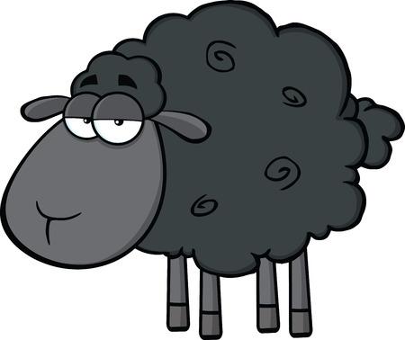Śliczne Black Sheep Cartoon maskotka Ilustracja Character Pojedynczo na białym tle
