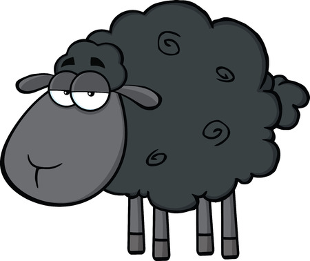 Cute Black Sheep Cartoon Mascot Character  Illustration Isolated on white Çizim