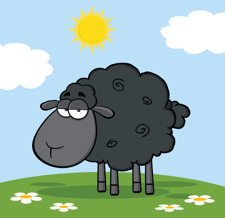 black: Cute Black Sheep On A Meadow Illustration