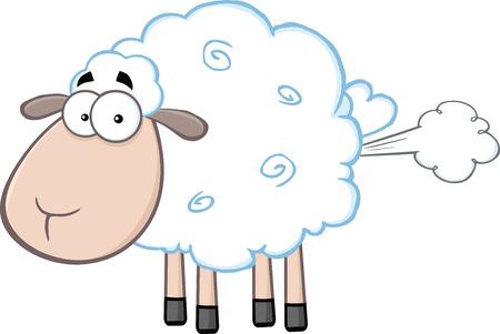 Niedliche weiße Schaf-Karikatur-Maskottchen-Buchstaben Mit Fart Wolke Illustration auf weißem