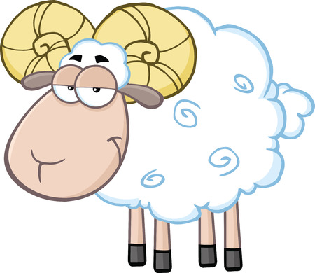 ram sheep: Cute Ram Sheep Cartoon Mascot Character  Illustration Isolated on white Illustration