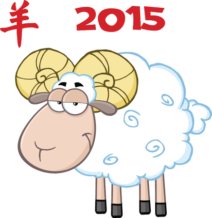ram sheep: Ram Sheep Cartoon Character Under Text 2015 Illustration Isolated on white