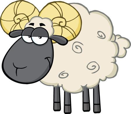 aries: Lindo de las ovejas Negro Ram Head mascota de dibujos animados Ilustración de carácter aislado en blanco Vectores