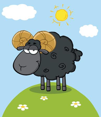 Cute Black Ram Sheep Cartoon Mascot Character On A Hill Vector