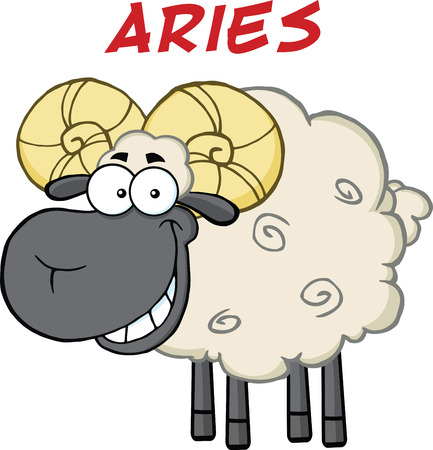ram sheep: Smiling Black Head Ram Sheep Under Text Aries  Illustration Isolated on white Illustration