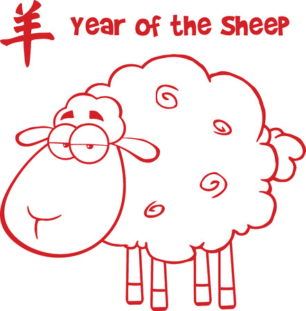 spring coat: Sheep With Red Line And Text Year Of The Sheep  Illustration Isolated on white Illustration