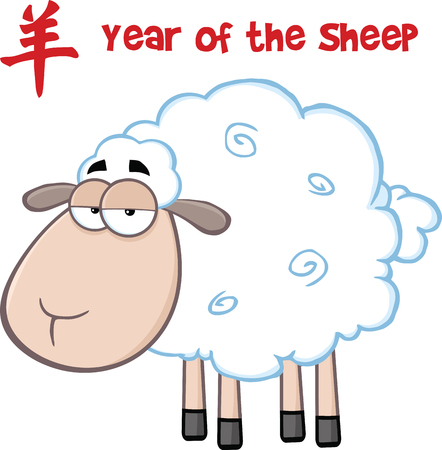 cotton wool: Sheep Cartoon Character Under Text Year Of The Sheep  Illustration Isolated on white