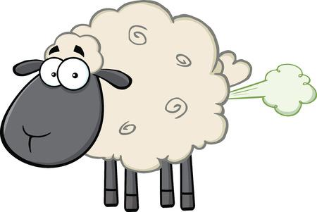 Carino Black Head Sheep Personaggio mascotte del fumetto con Fart Copertura illustrazione isolato su bianco