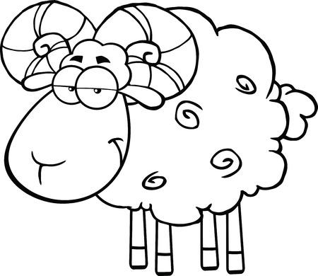 pasen schaap: Zwart-wit Leuke Schapen van de Ram Cartoon Mascot Karakter illustratie geïsoleerd op wit Stock Illustratie