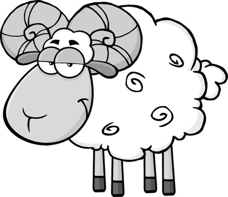 ram sheep: Cute Ram Sheep Cartoon Mascot Character In Gray Color  Illustration Isolated on white