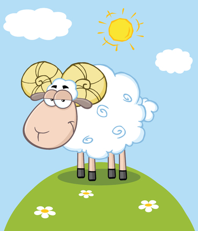 Cute Ram Sheep Cartoon Mascot Character On A Hill Vector