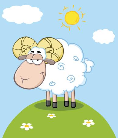 cotton wool: Cute Ram Sheep Cartoon Mascot Character On A Hill Illustration