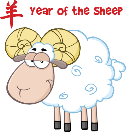 ram sheep: Ram Sheep Cartoon Character Under Text Year Of The Sheep  Illustration Isolated on white