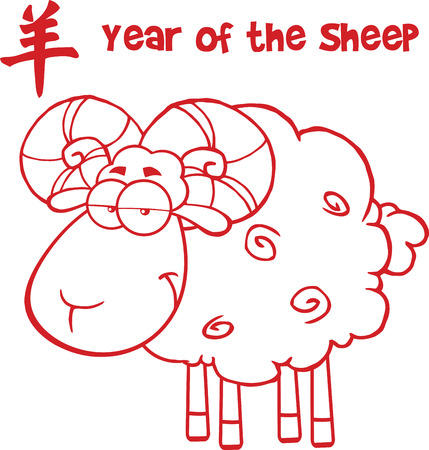Ram Sheep With Red Line And Text Year Of The Sheep  Illustration Isolated on white Vector