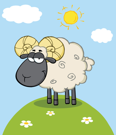 Cute Black Head Ram Sheep Cartoon Mascot Character On A Hill Vector