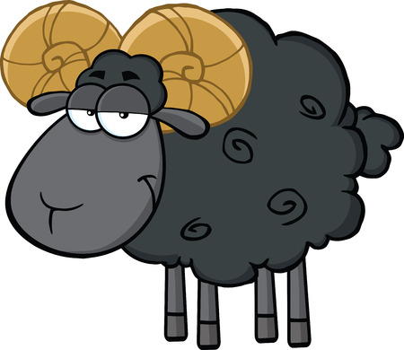 ram sheep: Cute Black Ram Sheep Cartoon Mascot Character  Illustration Isolated on white Illustration