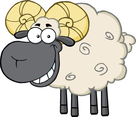 memoria ram: Ovejas sonrientes Negro Ram Head mascota de dibujos animados Ilustración de carácter aislado en blanco Vectores