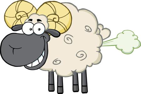 Smiling Black Head Ram Schaf-Karikatur-Maskottchen-Buchstaben Mit Fart Wolke Illustration auf weißem