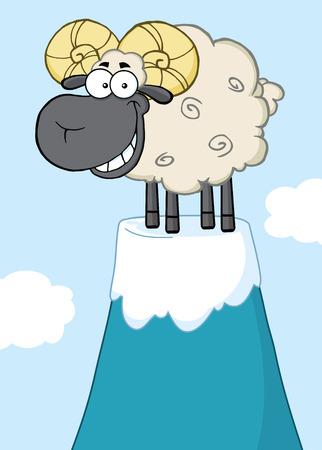 Smiling Ram Sheep Cartoon Mascot Character On Top Of A Mountain Peak