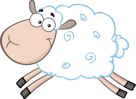 White Sheep Cartoon Mascot Character Jumping  Illustration Isolated on white  イラスト・ベクター素材