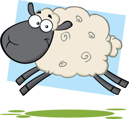 sheep wool: Funny Black Head Sheep Cartoon Mascot Character Jumping Illustration