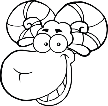 Black And White Ram Sheep Head Cartoon Mascot Character  Illustration Isolated on white Vector