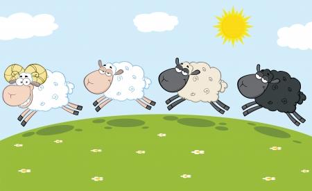 carnero: Ovejas sonrientes Ram Leading Tres Ovejas
