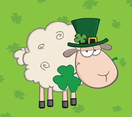 緑の背景に口の中に、クローバーを運ぶアイルランドの羊  イラスト・ベクター素材