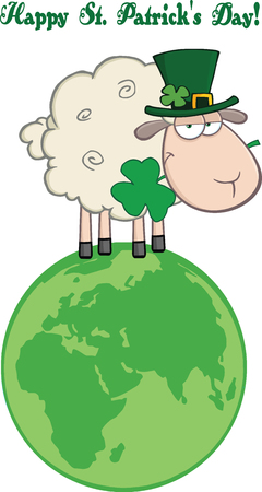 Irish Sheep Carrying A Clover On A Globe Under Text-Happy St  Patrick s Day Vector