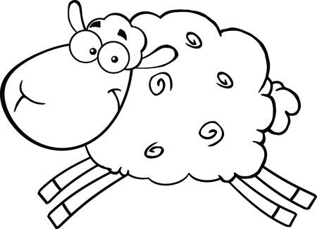Zwarte en witte schapen Cartoon Mascot Karakter springen illustratie geïsoleerd op wit
