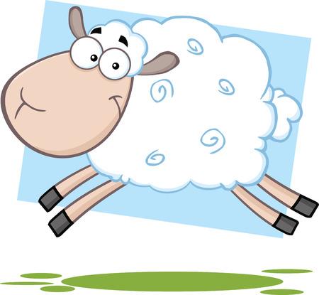 Funny Sheep Cartoon Mascot Character Jumping Ilustração