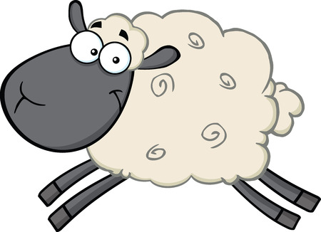 Black Head Sheep Cartoon Mascot Character Jumping  Illustration Isolated on white Vectores