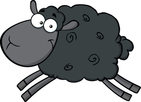 pasen schaap: Black Sheep Cartoon Mascot Karakter Jumping illustratie geïsoleerd op wit