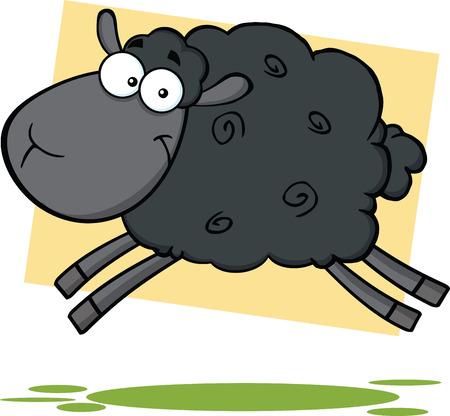 zwart schaap: Grappige Zwarte Schapen Cartoon Mascot Karakter Jumping