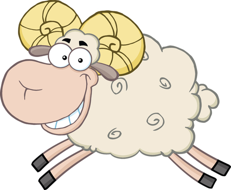 ram sheep: Smiling Ram Sheep Cartoon Mascot Character Jumping  Illustration Isolated on white