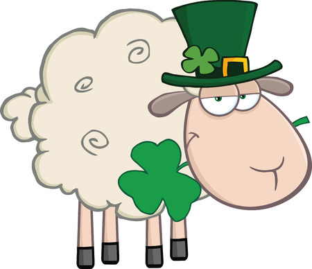 Irish Sheep Carrying A Clover In Its Mouth  Illustration Isolated on white Vector