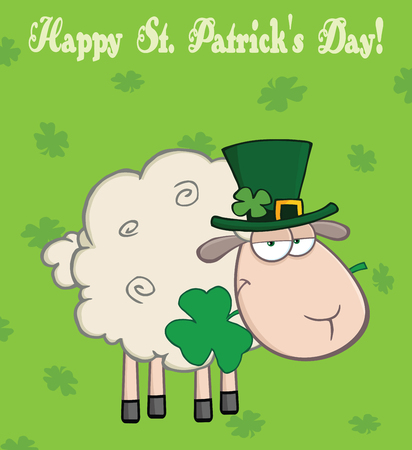 patrick: Irish Sheep Carrying A Clover In Its Mouth Under Text-Happy St  Patrick s Day
