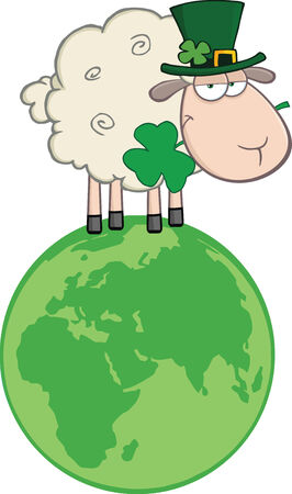Irish Sheep Carrying A Clover In Its Mouth On A Globe  Illustration Isolated on white Vector