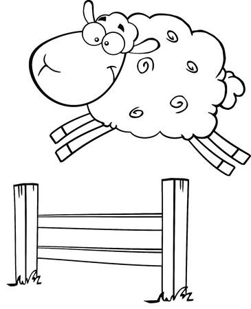 jumping fence: Blanco y negro divertido de las ovejas blancas que salta sobre la Ilustración valla aislado en blanco Vectores