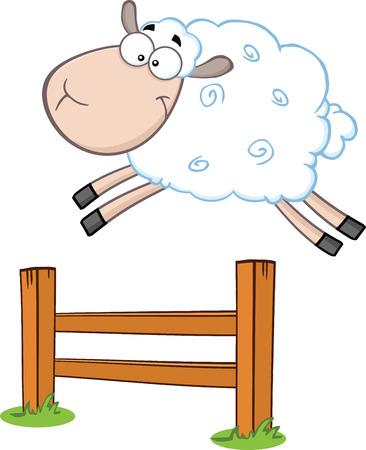 jumping fence: Ovejas Divertidas Salto Blanco Sobre La Ilustración de la cerca aislado en blanco Vectores