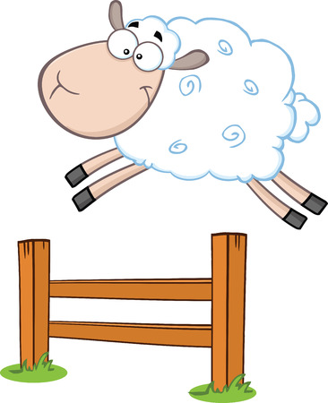 Funny White Sheep Jumping Over The Fence  Illustration Isolated on white