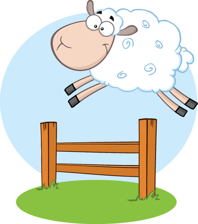 salto de valla: Ovejas blancas que salta sobre la Ilustraci�n valla aislado en blanco