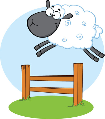 sheep wool: Funny Black Head Sheep Jumping Over The Fence   Illustration Isolated on white